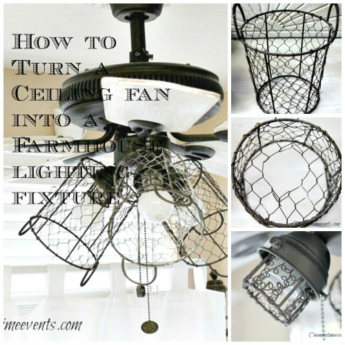 How to Turn a Ceiling Fan into a Farmhouse Style Lighting Fixture from One More Time Events