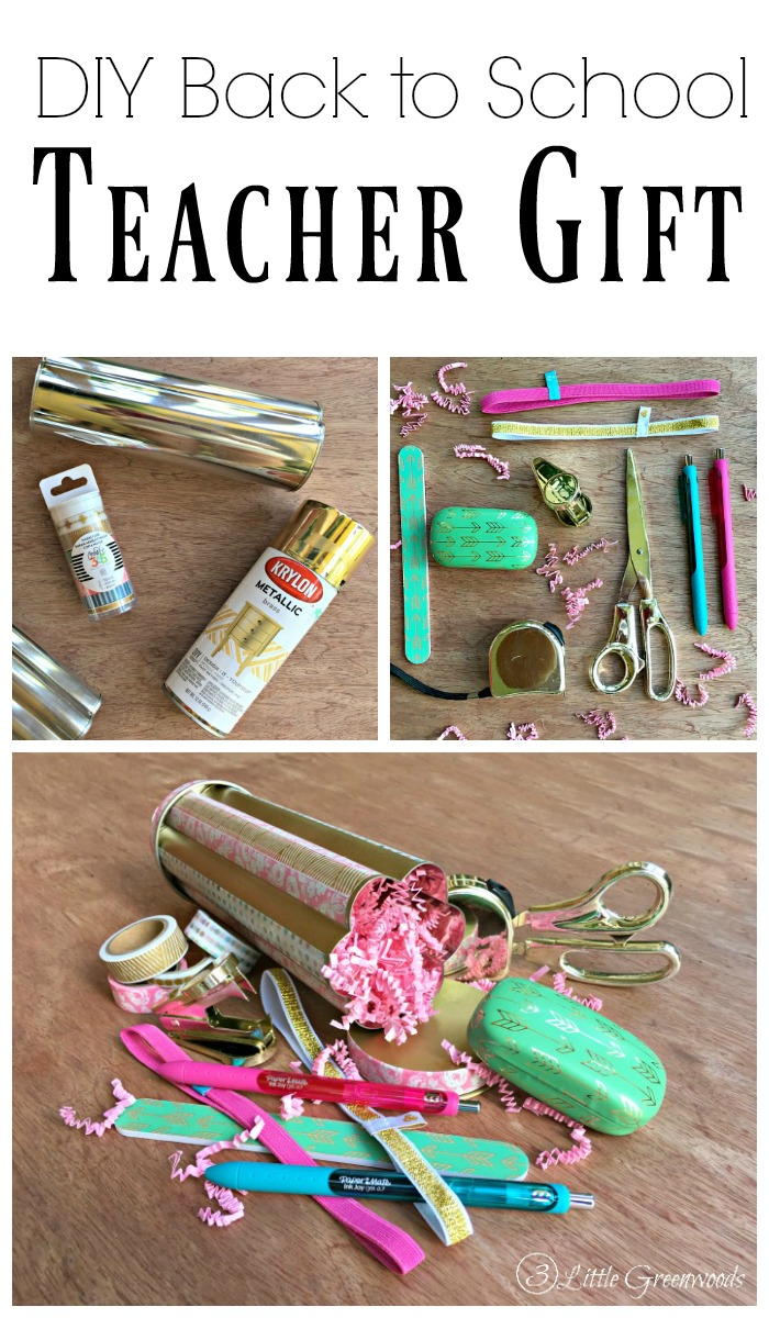 Welcome teachers back to school with a DIY Teacher Gift created from teacher essentials and a thrift store find! Create little kits that will help get teachers excited for the school year ahead in just a few quick steps.