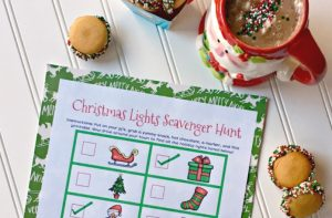 Make this Christmas Light Scavenger Hunt for Kids a must do Christmas Countdown Activity this year! Along with a FREE holiday lights printable, delicious cookies and hot chocolate, you've got a Christmas tradition they will want to do year after year.