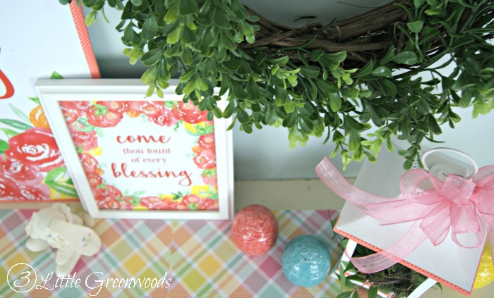 Spring Mantel Decorating Ideas with Coral Flowers, Spring Printable, and Boxwood Wreath