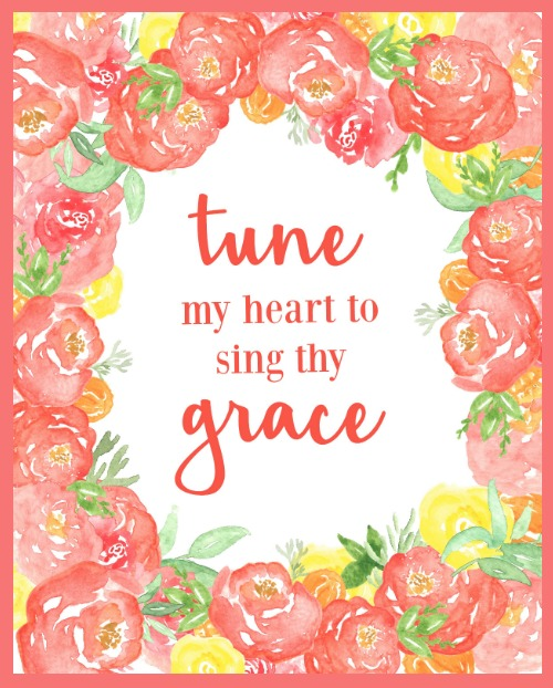 Tune My Heart Printable with Coral Peonies - Perfect for Spring Decorating