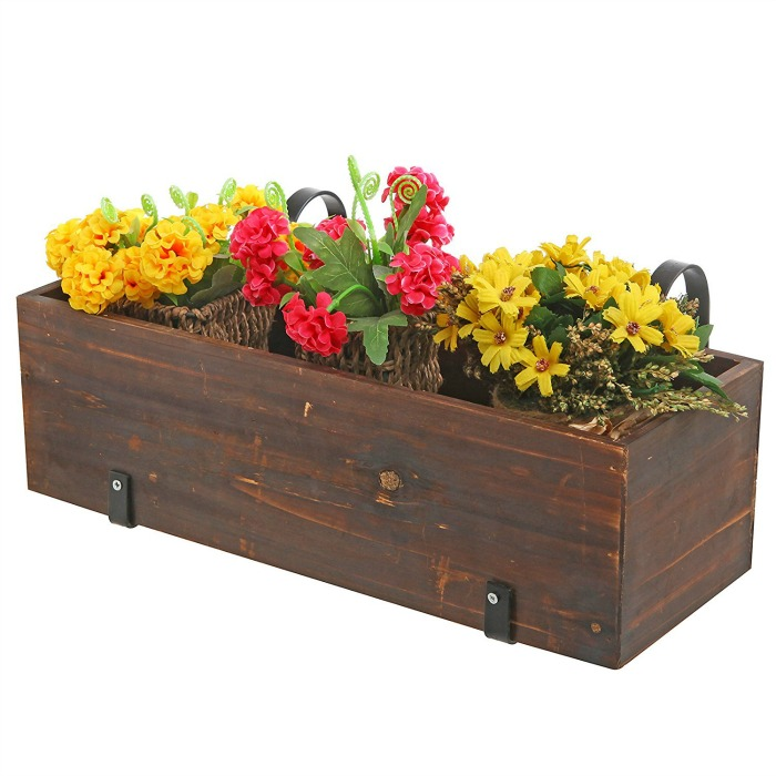 Country Rustic Wooden Rail Planter Box 10 Front Porch Flower Ideas You Can Install Today For Great Curb Eal