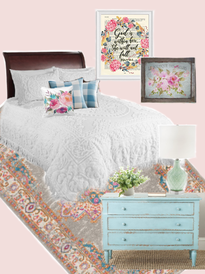 Pink Cottage Bedroom Ideas to help you create a soft feminine space in your home! Cottage style bedroom inspiration with soft pink wall color, floral artwork, and an inexpensive pink area rug.