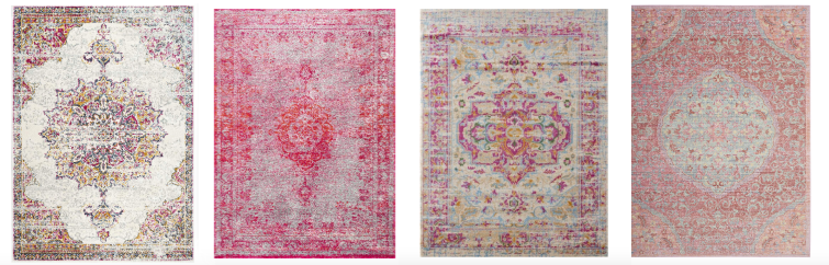 A shopping guide with 10 Pink Area Rugs for under $100. Perfect for cottage bedroom decor with rug styles that include traditional rugs, medallion rugs, and distressed rug styles.