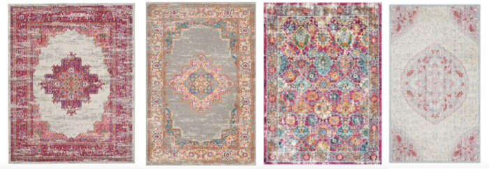 A shopping guide with 12 Pink Area Rugs for under $100. Perfect for cottage bedroom decor with rug styles that include traditional rugs, medallion rugs, and distressed rug styles.