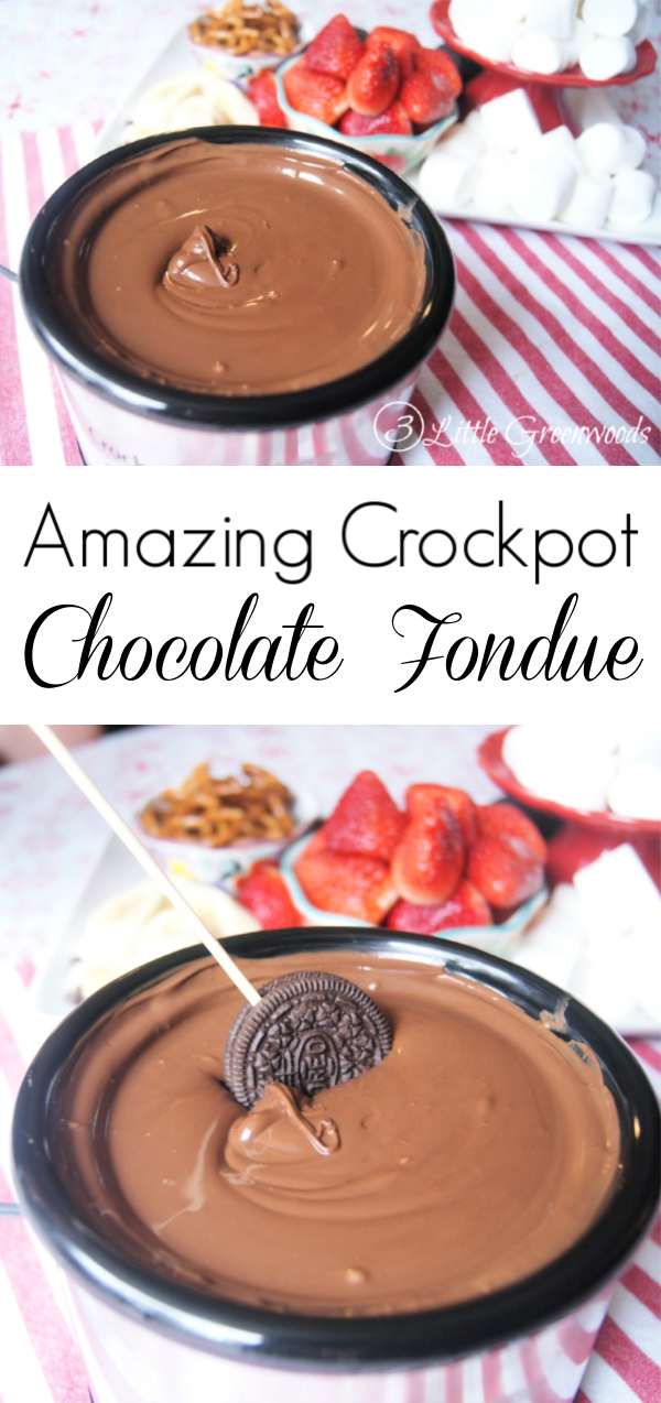 Oh my word! This 2 ingredient Crockpot Chocolate Fondue Recipe is AMAZING! Perfect for dessert parties or a special Valentine's Day dinner.