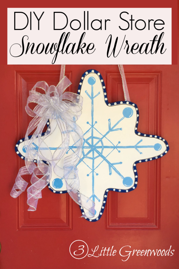 Make an DIY snowflake wreath for your front door with supplies from the Dollar Store!