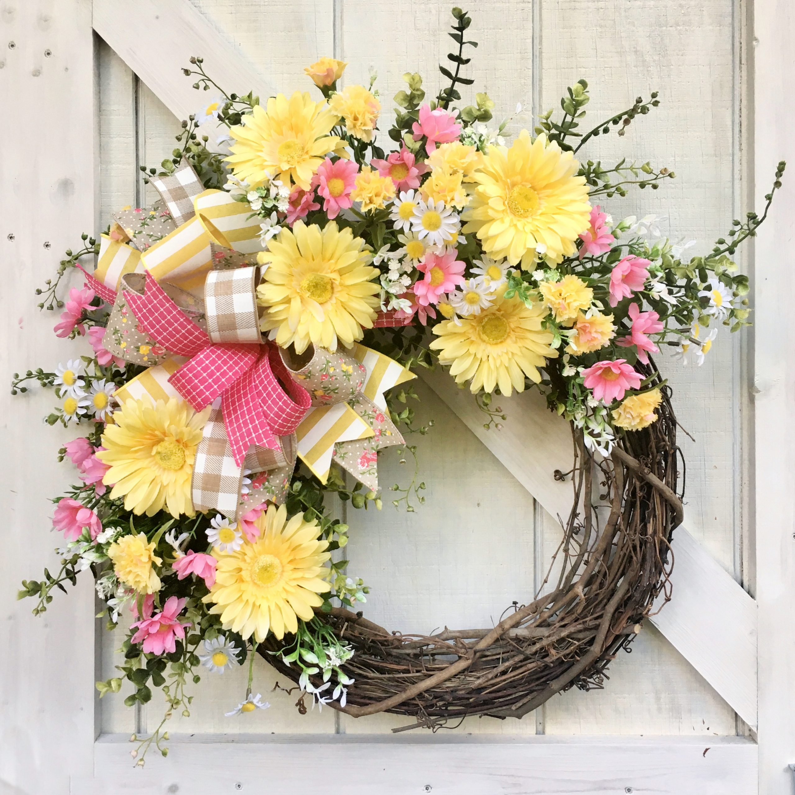 Pink and Yellow Grapevine Wreath for Summer
