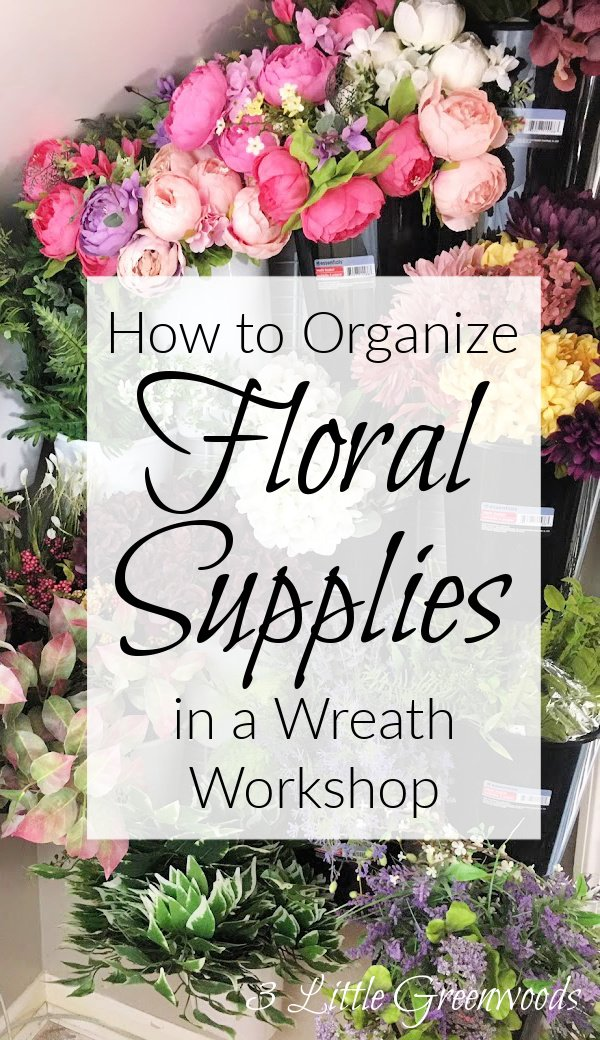 How to organize silk flowers in a wreath workshop with this budget friendly DIY Artificial Flower Storage idea. Must have floral wall storage for any wreath maker!